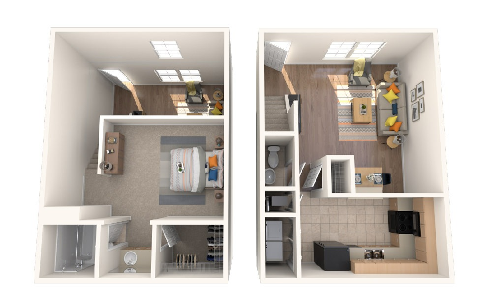 One Bedroom One Bath Townhome - 1 bedroom floorplan layout with 1 bath and 850 square feet.