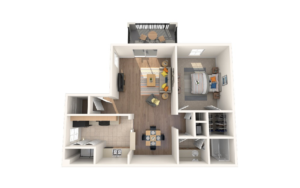 One Bedroom One Bath w/Porch - 1 bedroom floorplan layout with 1 bath and 890 square feet.