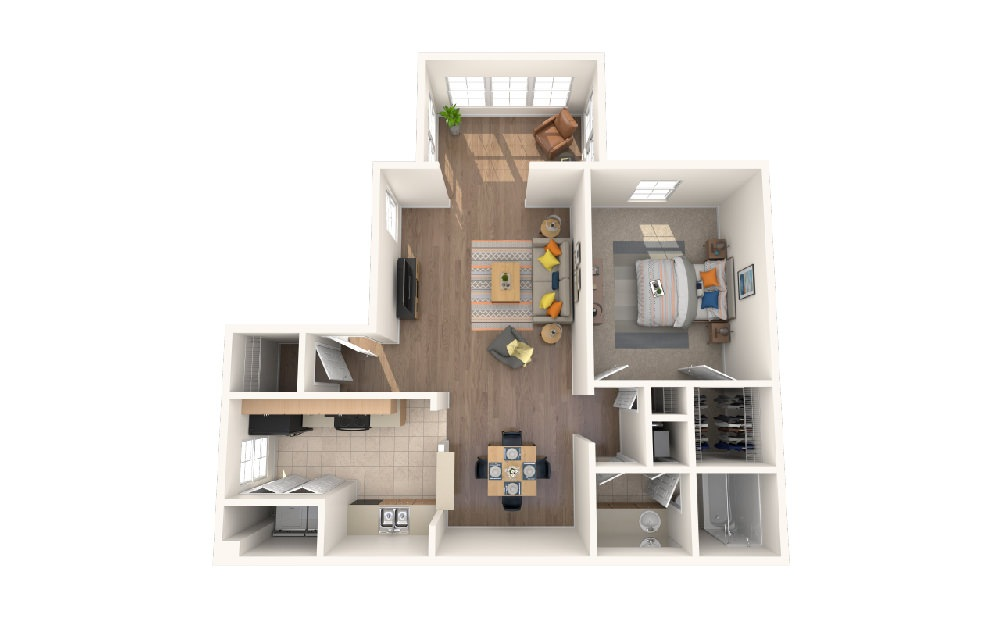 One Bedroom One Bath w/Sunroom - 1 bedroom floorplan layout with 1 bath and 890 square feet.