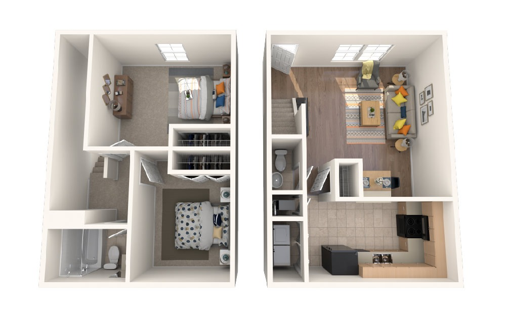Two Bedroom One Half Bath - 2 bedroom floorplan layout with 1.5 bath and 876 square feet.