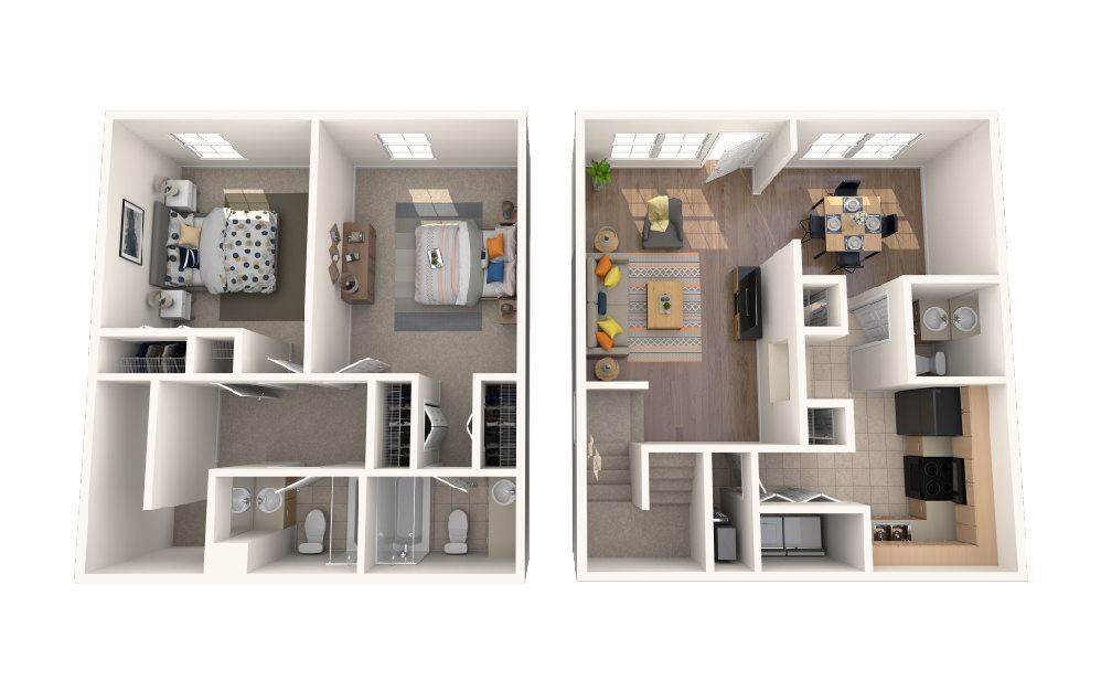 Two Bedroom Two Bath Townhome - 2 bedroom floorplan layout with 2.5 baths and 1182 square feet.