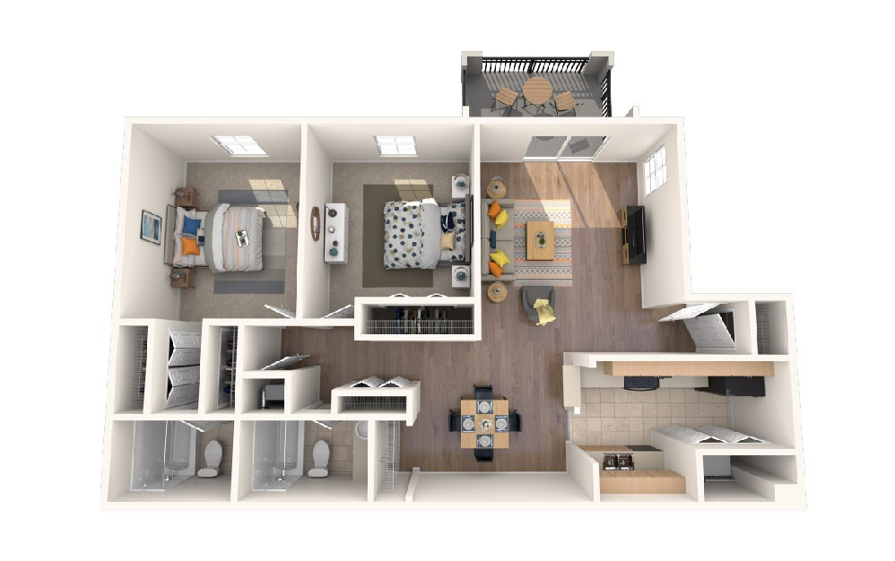 Two Bedroom Two Bath w/Porch - 2 bedroom floorplan layout with 2 baths and 1043 square feet.